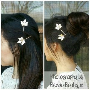 Silver Maple Leaves Wedding Bridesmaid Bobby Pins